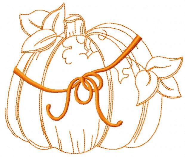 Orange Halloween pumpkin free embroidery design
