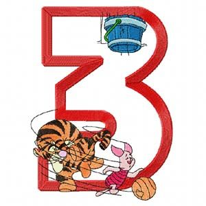 Tiger Piglet Basketball Sport Number Three machine embroidery design