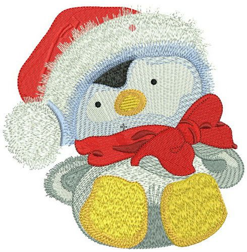 Penguin in Santa hat embroidery design 3