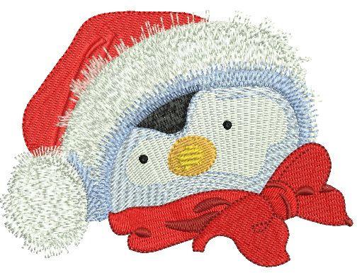 Penguin in Santa hat embroidery design 4