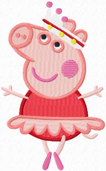 Peppa Pig ballerina embroidery design