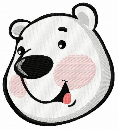 Polar bear face embroidery design