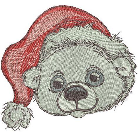 Polar bear in Santa hat embroidery design 2