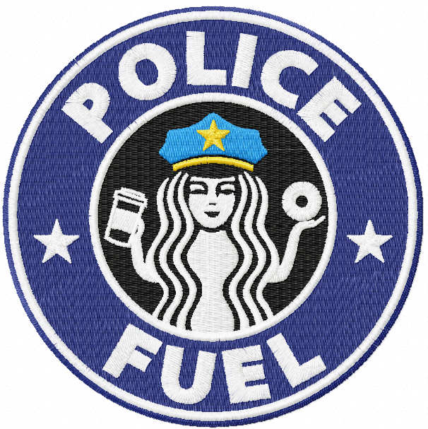 Police fuel embroidery design