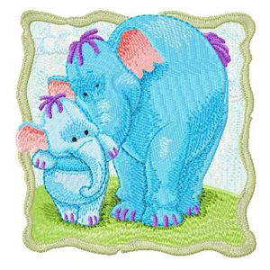Heffalump mother and baby embroidery design