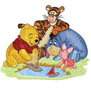 Winnie Pooh, Tigger, Eeyore and Piglet embroidery design