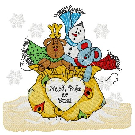 Presents from the North Pole embroidery design