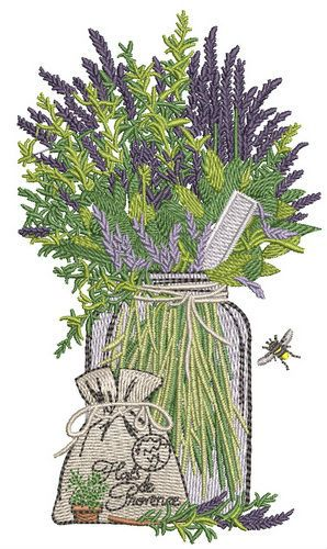Provencal herbs embroidery design