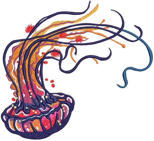 Rainbow jellyfish embroidery design