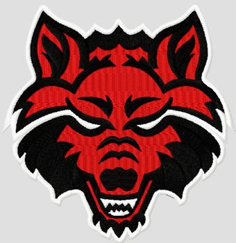 Arkansas State Red Wolves college logo machine embroidery design