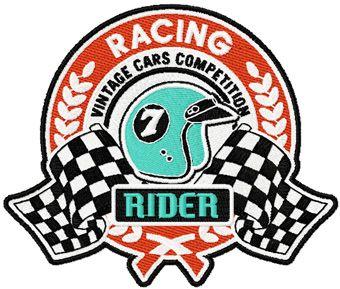 Retro Vintage Racing label machine embroidery design
