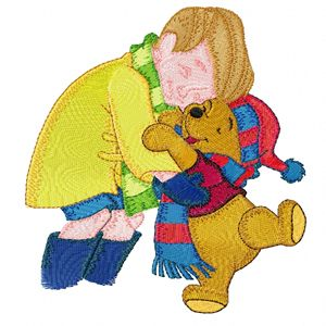 Christopher Robin and Winnie Pooh machine embroidery design