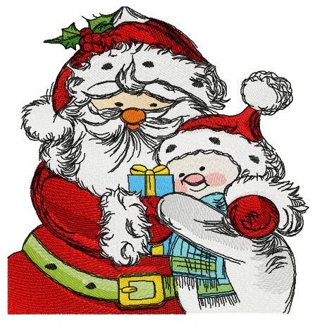 Santa and snowman embroidery design 2