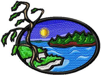Scandinavian landscape free machine embroidery design