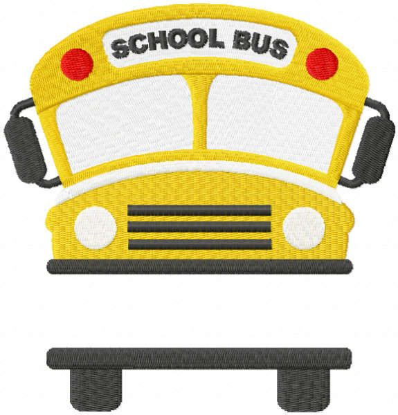 School bus with monogram embroidery design