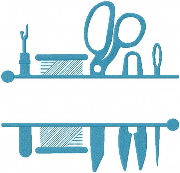Sewing split monogram frame embroidery design