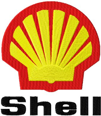 Shell logo machine embroidery design