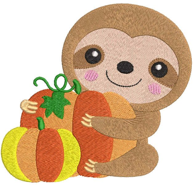 Sloth with pumpkins embroidery design