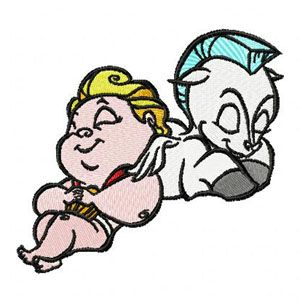 Baby Hercules and Baby Pegasus embroidery design