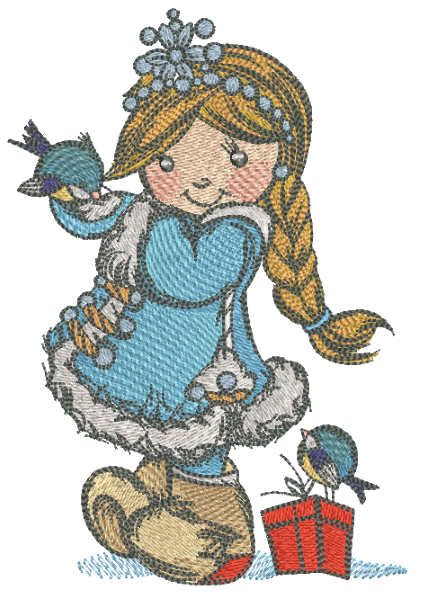 Snow Maiden with birds embroidery design