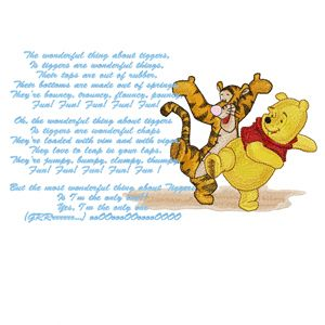 Winnie Pooh and Tigger sing a song machine embroidery design
