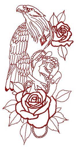 Tamed eagle embroidery design 2