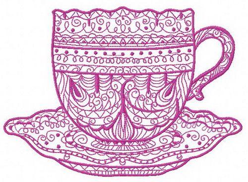 Tea time machine embroidery design 6