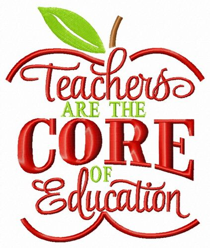 Teachers are the core of education embroidery design