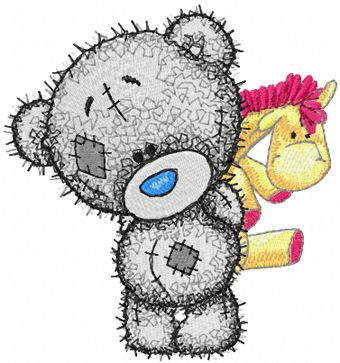 Teddy Baby with toy embroidery design