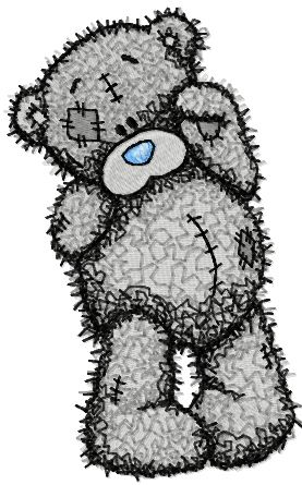 Teddy Bear bye bye embroidery design