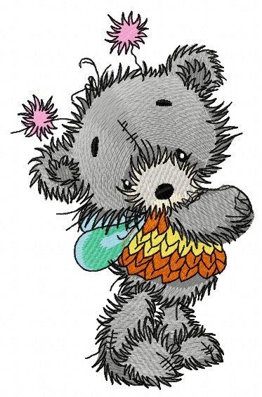 Teddy bear fairy embroidery design 4