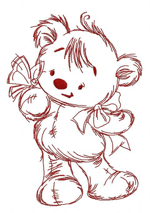 Teddy bear playing with butterfly embroidery design 3