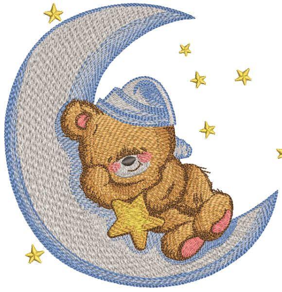 Teddy bear sleeps on the crescent embroidery design