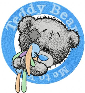 Teddy Bear with toy badge embroidery design