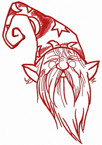 Tiny wizard embroidery design 4