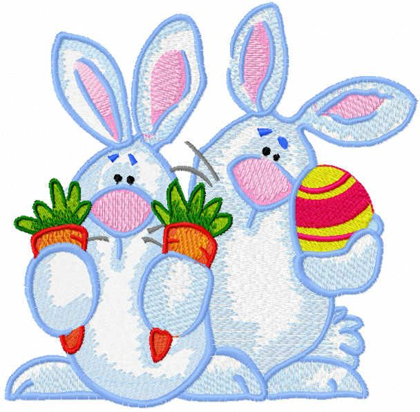 Two Bunnies with easter gifts embroidery design
