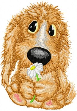 Very cute dog with flower embroidery design