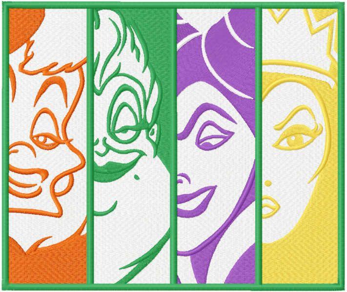 Villains friends embroidery design