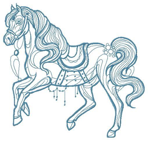 Vintage horse embroidery design