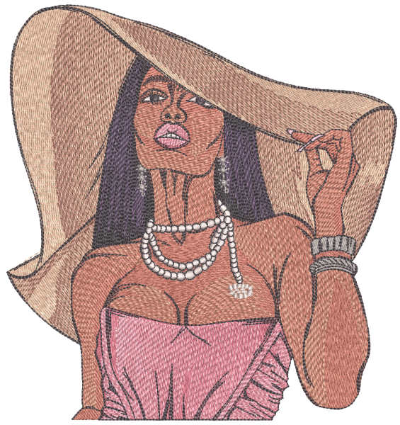 Woman in awide-brimmed hat embroidery design
