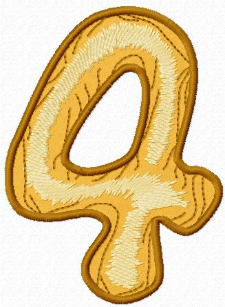 Wooden number four free machine embroidery design