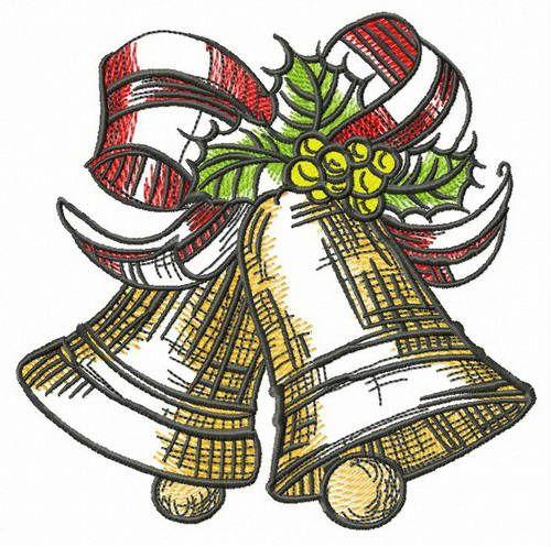 X-mas golden bells embroidery design