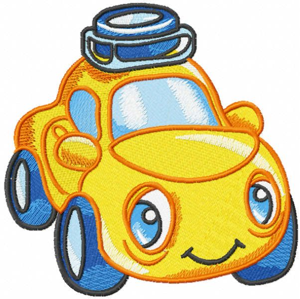 Yellow baby car embroidery design