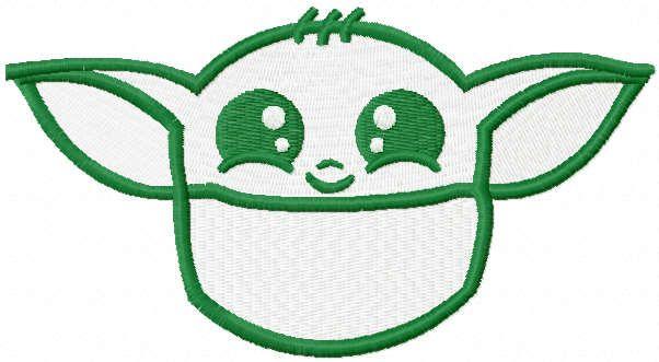Yoda pocket embroidery design