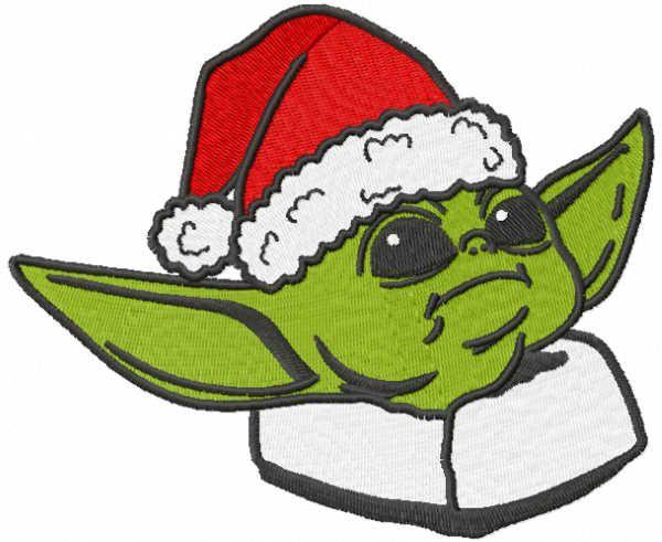Yoda Santa embroidery design