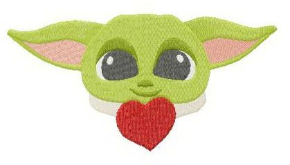 Yoda with heart embroidery design