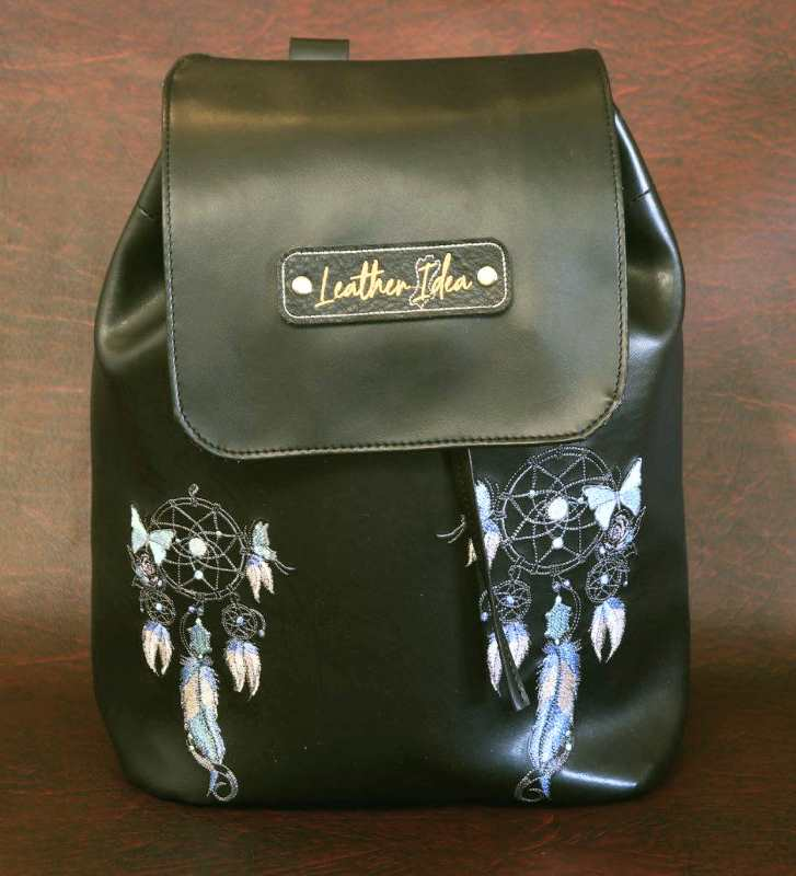 Leather backpack with dreamcatcher embroidery design