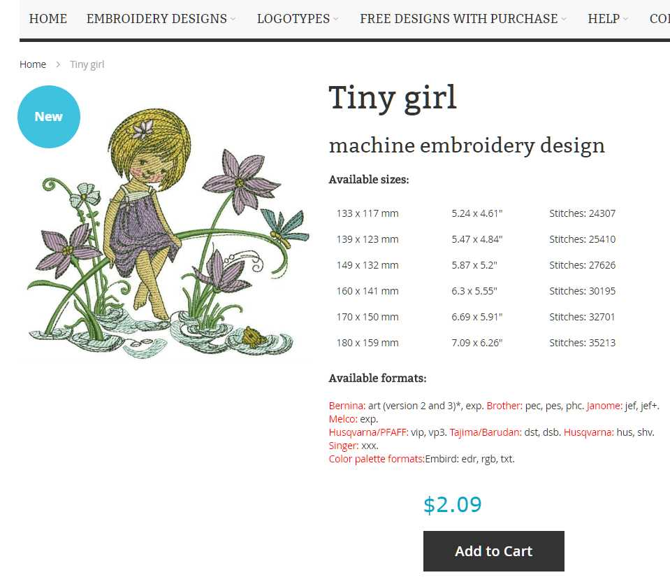 Embroidery design product page
