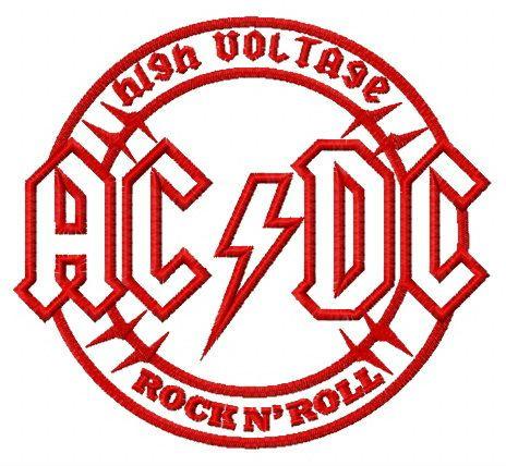 AC/DC alternative round logo embroidery design