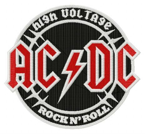 AC/DC round logo embroidery design